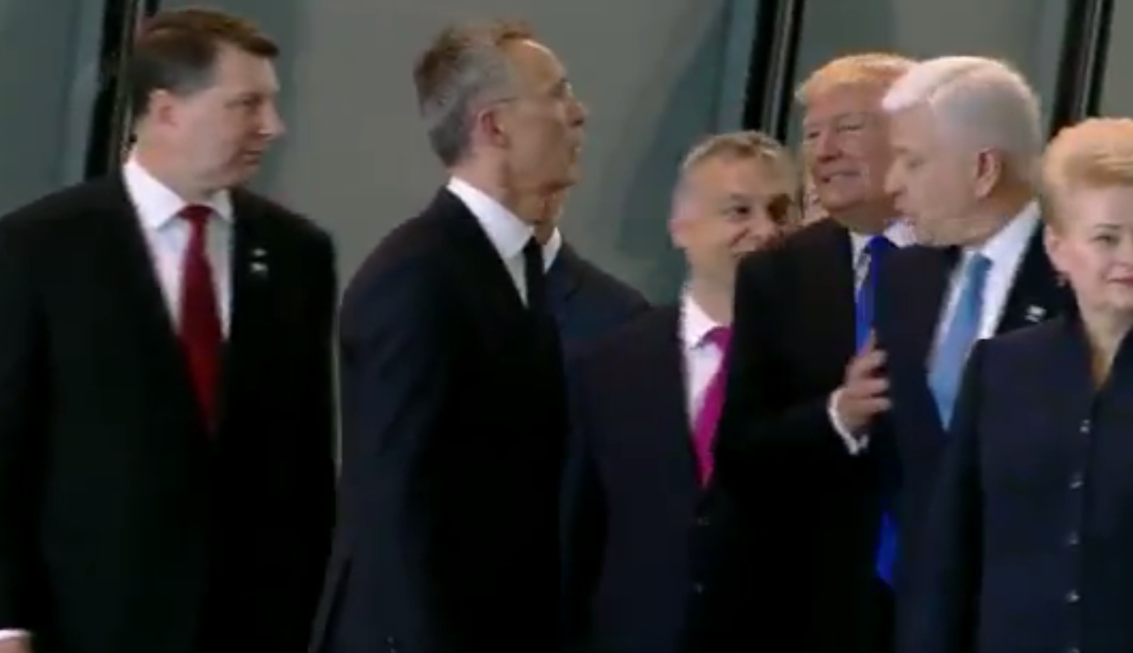 America first? Trump pushes aside Montenegro Prime Minster Markovic during NATO photocall