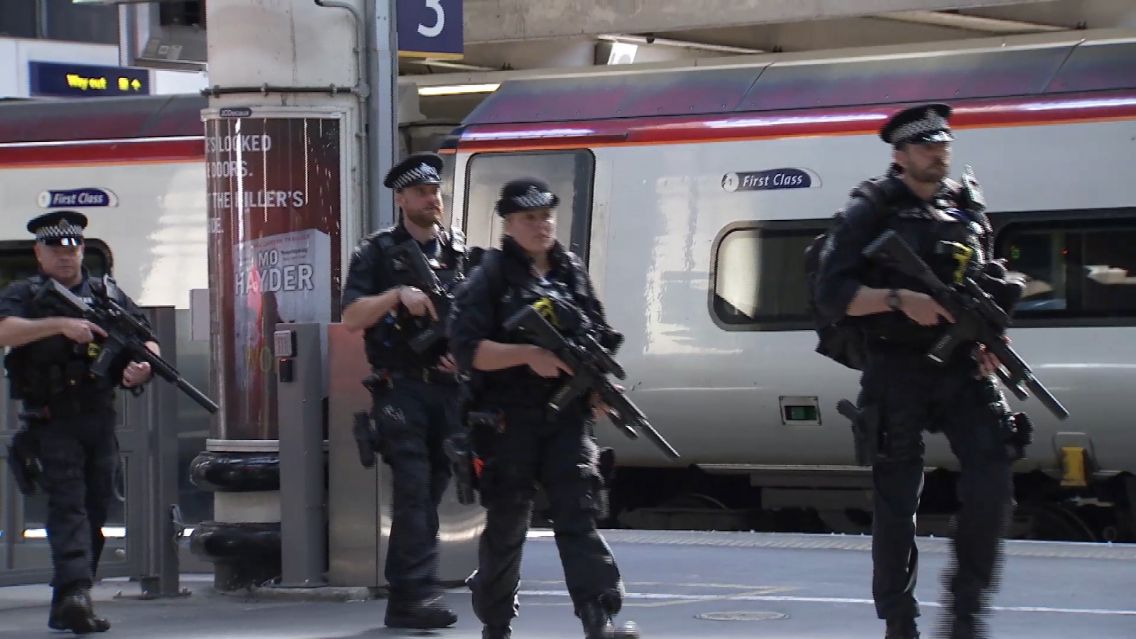 Armed police patrol major U.K. train stations after terror attack
