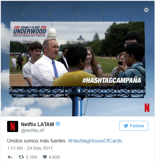 Campaign hashtag house of cards