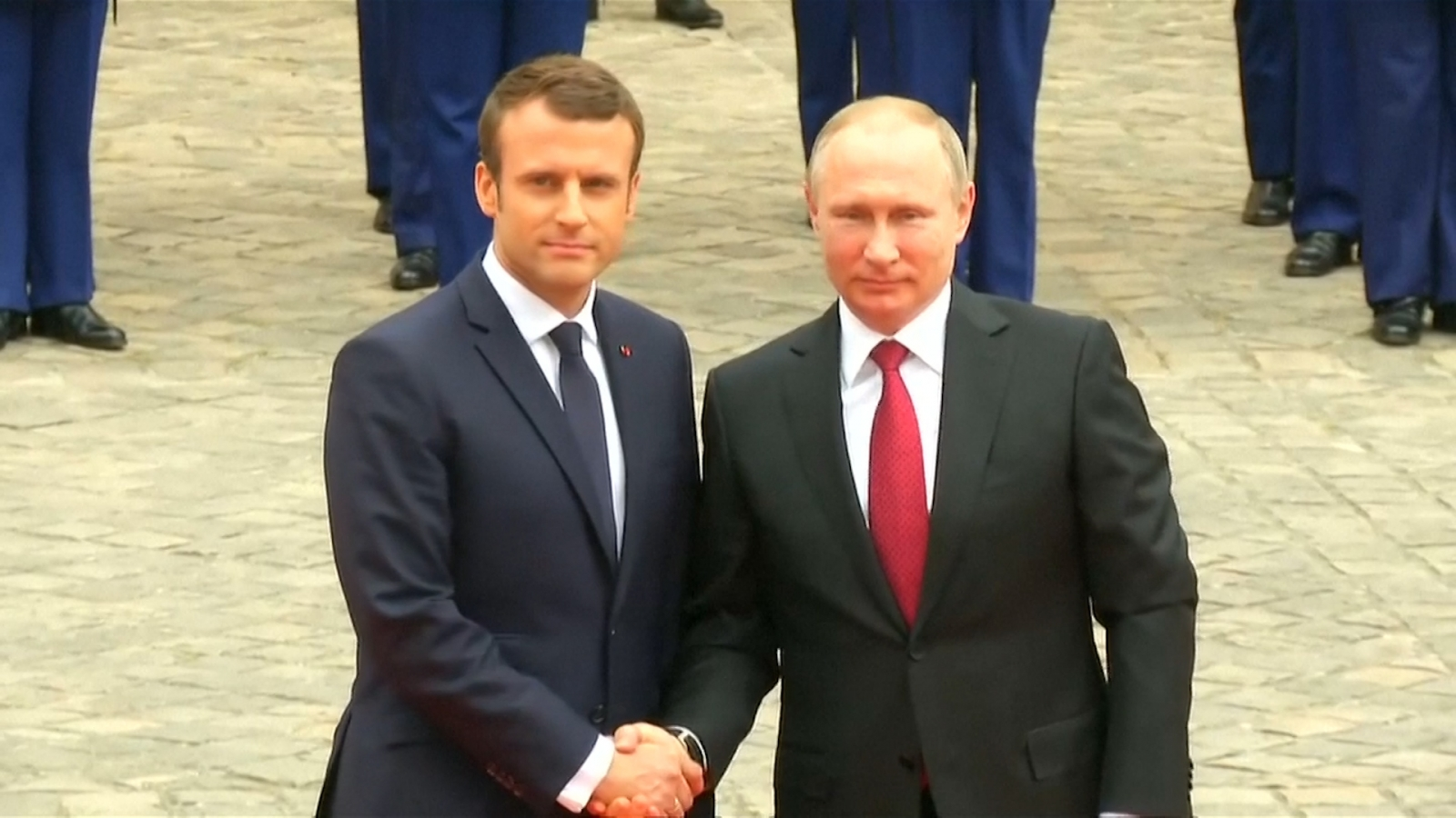 french-president-macron-welcomes-russian-president-putin-at-frances-palace-of-versailles