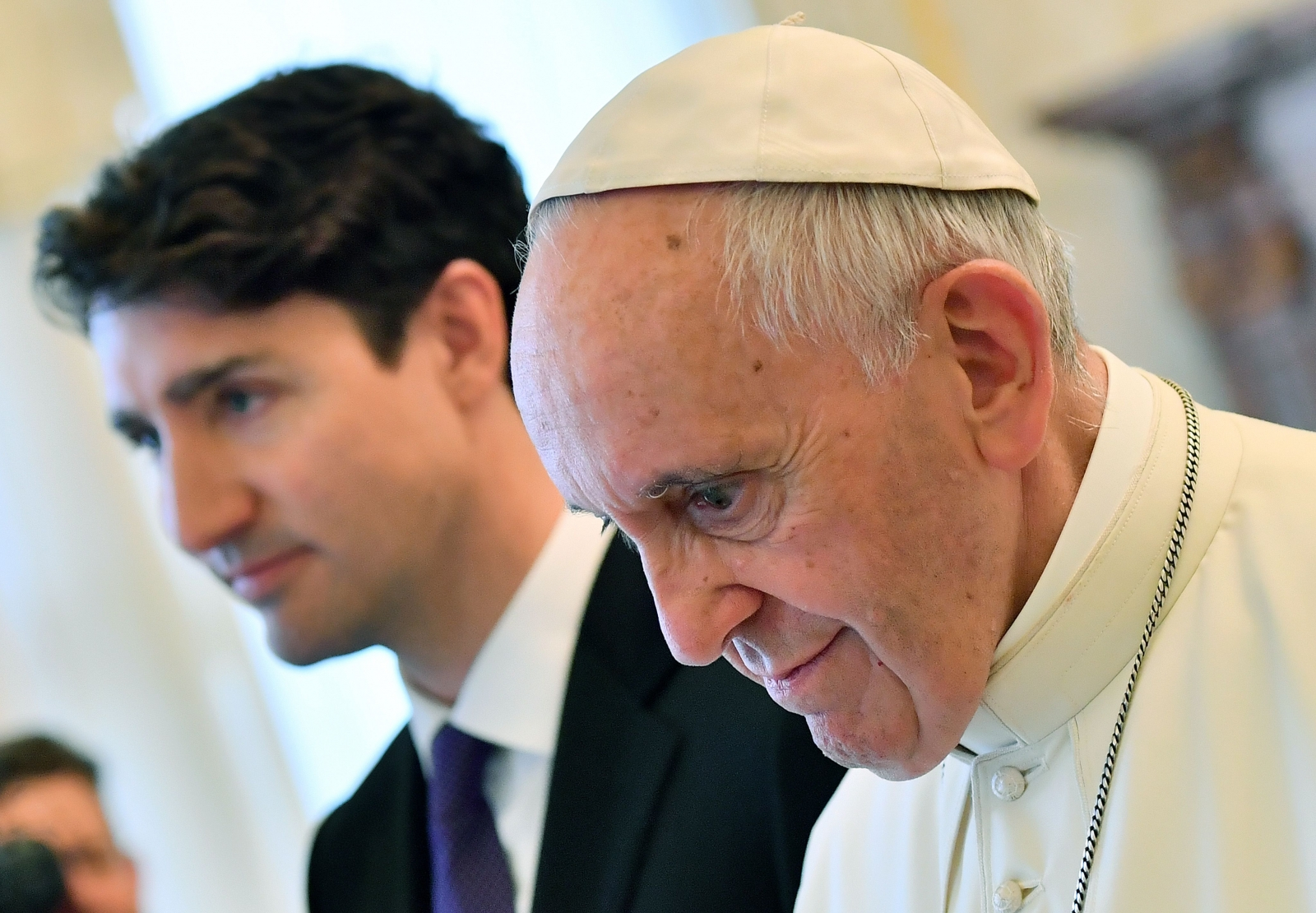 Pope Francis with  Justin Trudeau