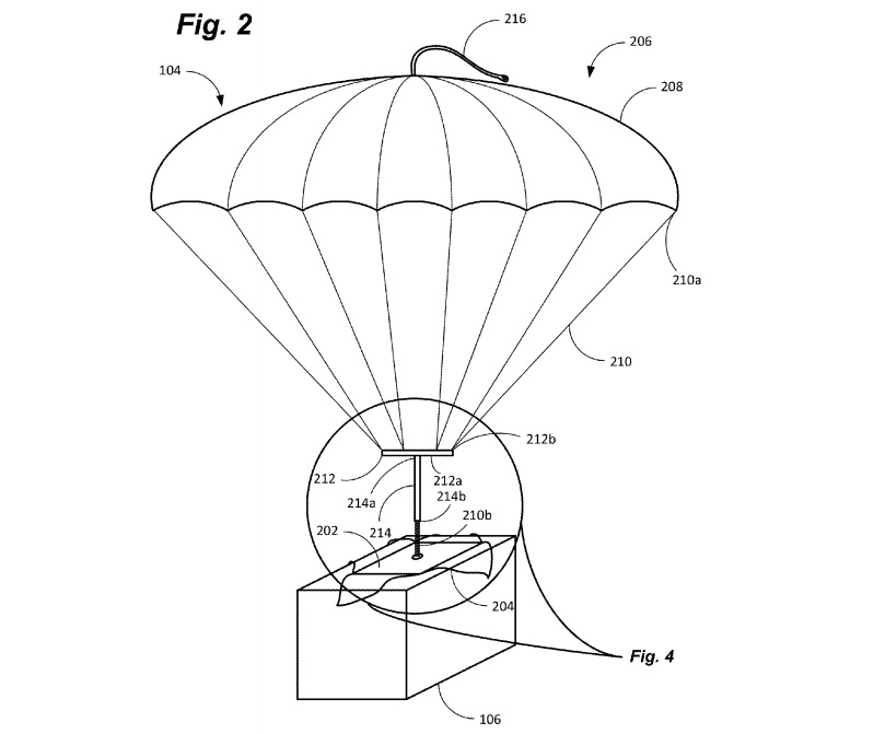 Amazon patents shipping label with built-in parachute for drone deliveries