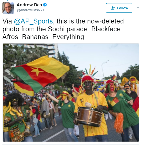 FIFA says blackface in Sochi parade was 'inappropriate'