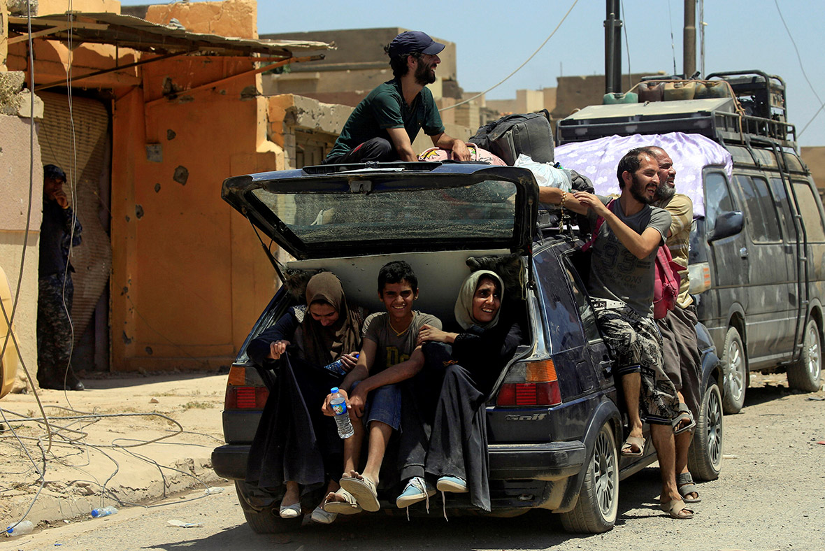Mosul residents flee Islamic State Isis Daesh