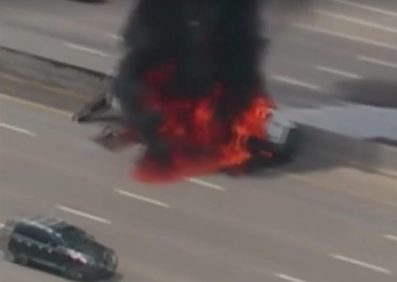 burning fuel truck Colorado