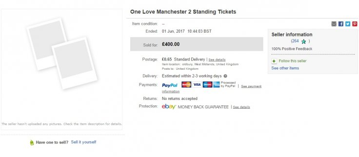 One Love tickets ebay