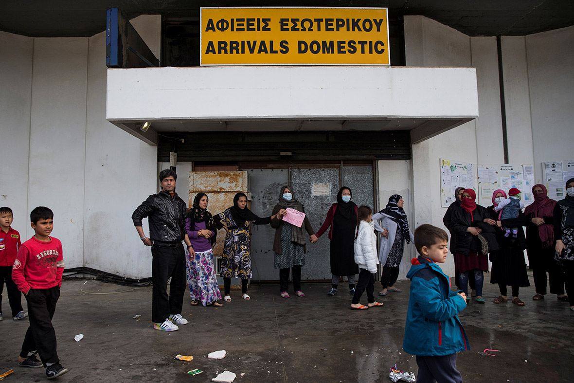 Hellenikon airport Athens greece migrants refugees