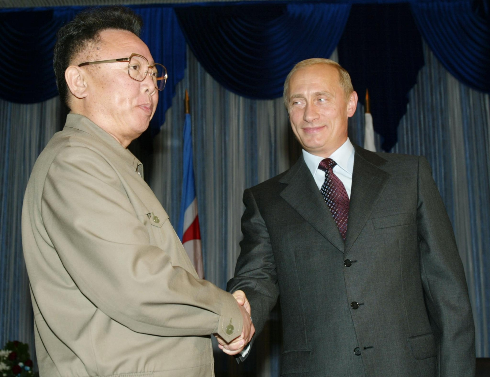 Kim Jong Il and Vladimir Putin