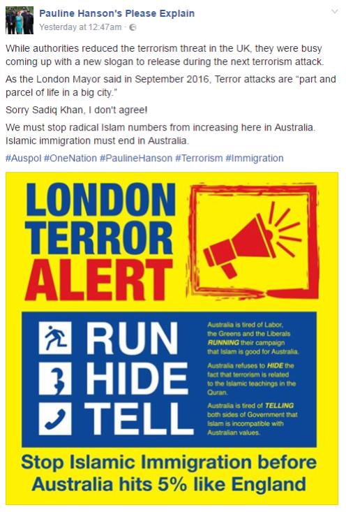 Pauline Hanson facebook muslim