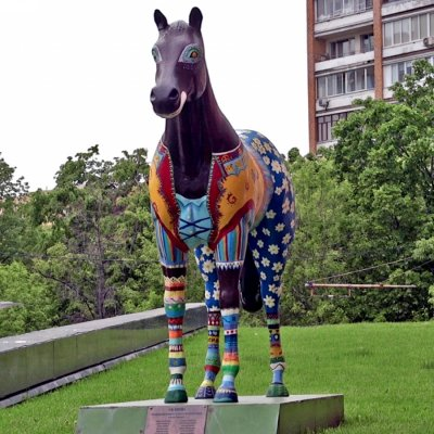 A horse sculpture outside Yandex headquarters
