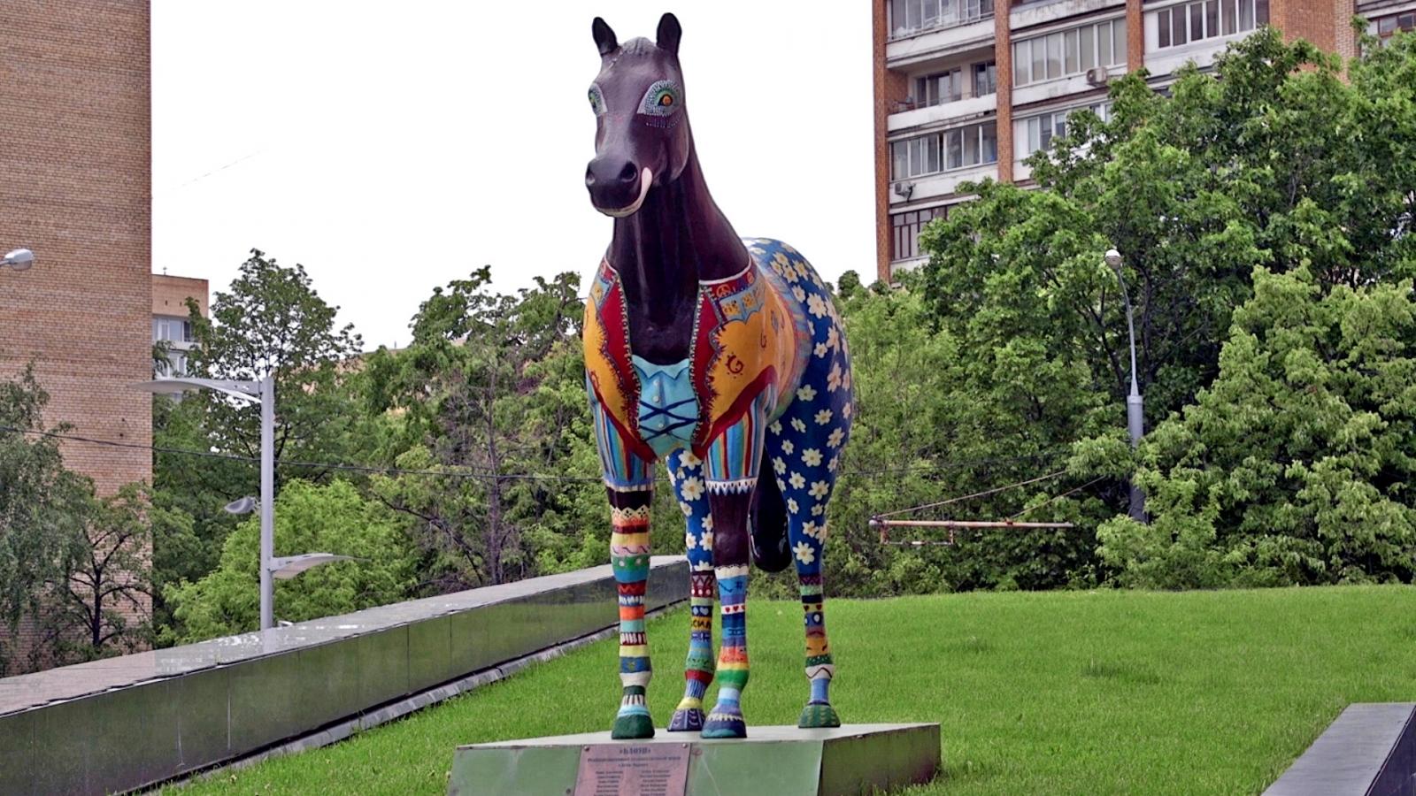 A horse sculpture outside Yandex headquarters