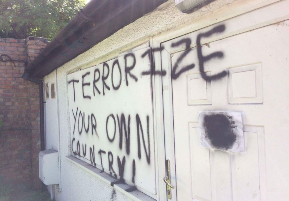 'Terrorize your own country' graffiti sprayed on Islamic centre in Sutton