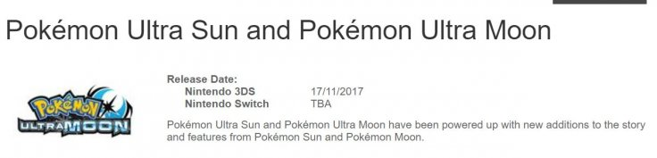 Pokemon Ultra Sun Moon Switch