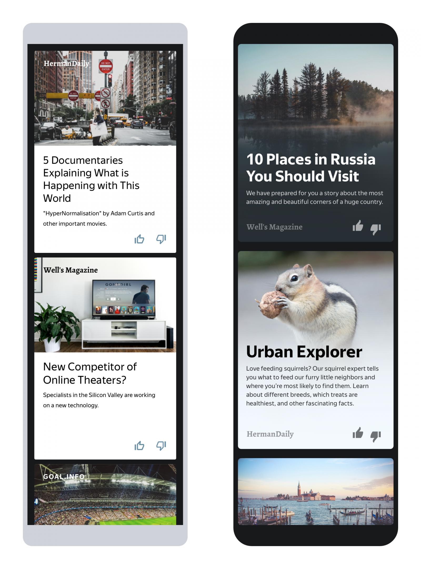 Examples of Yandex Zen content recommendations