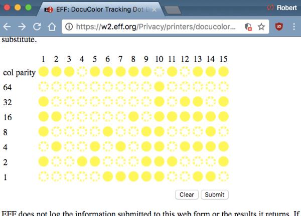 Laser printer yellow dot code