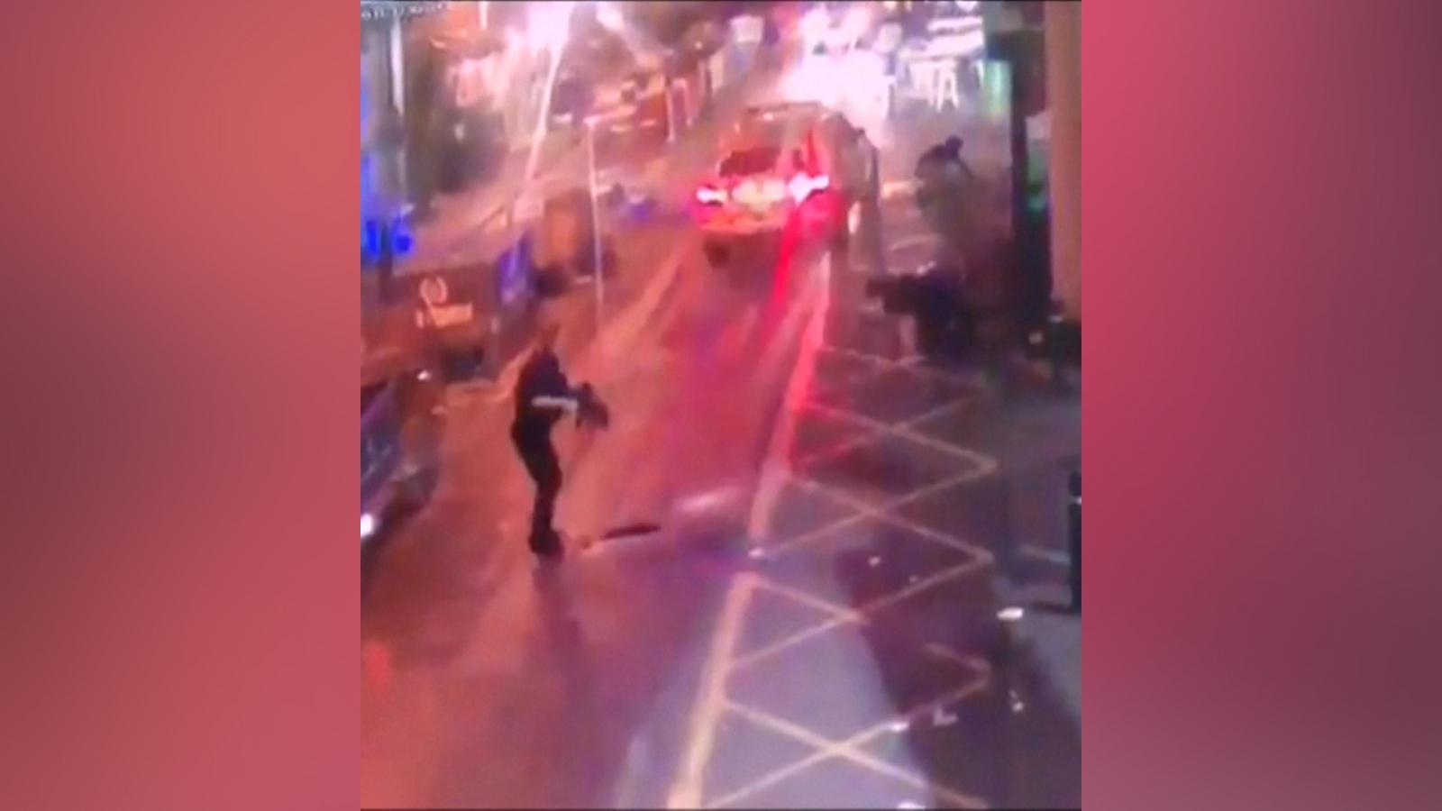 CCTV footage has emerged of the moment police shot London Bridge terrorists