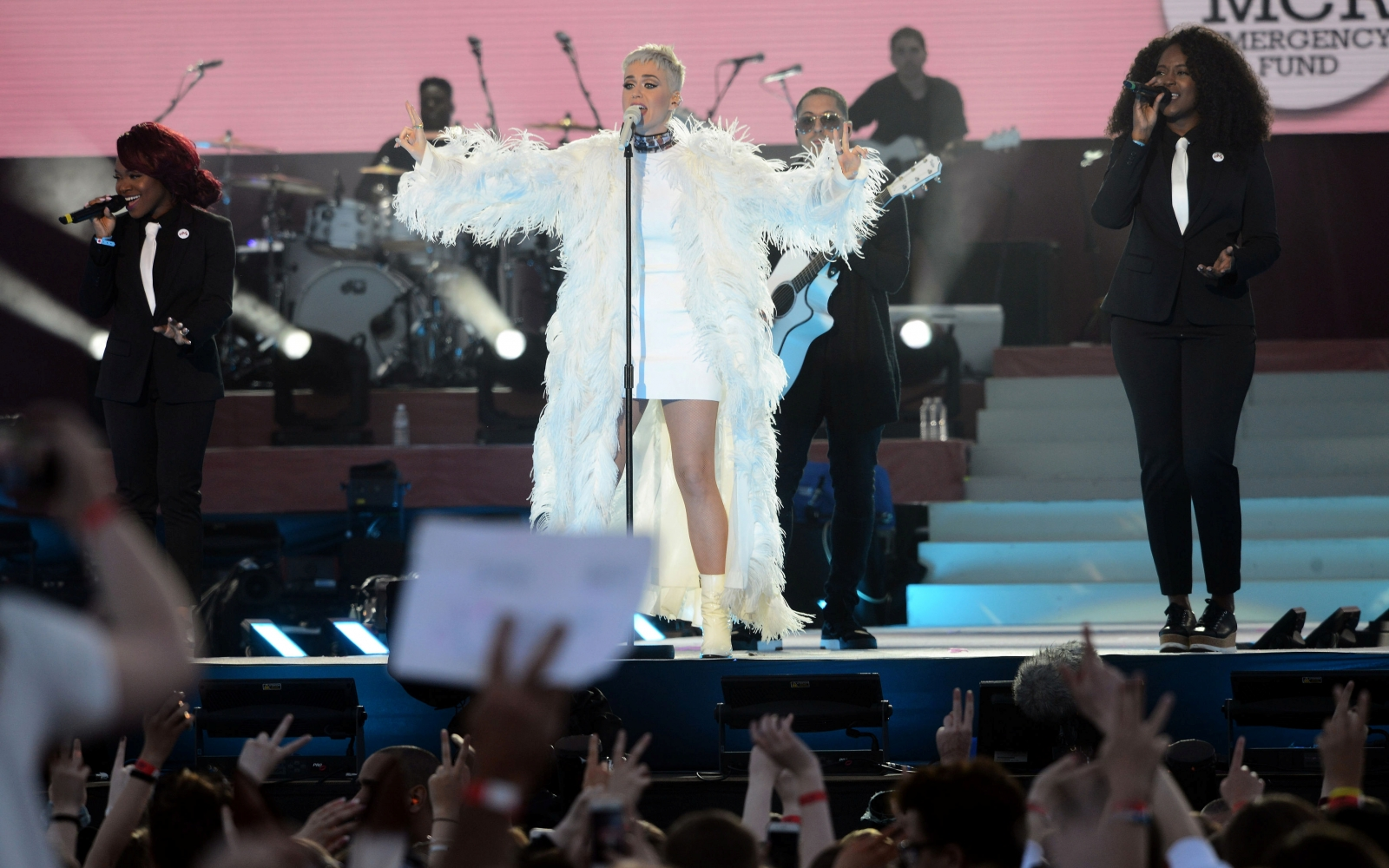 Katy Perry performing during One Love Manchester
