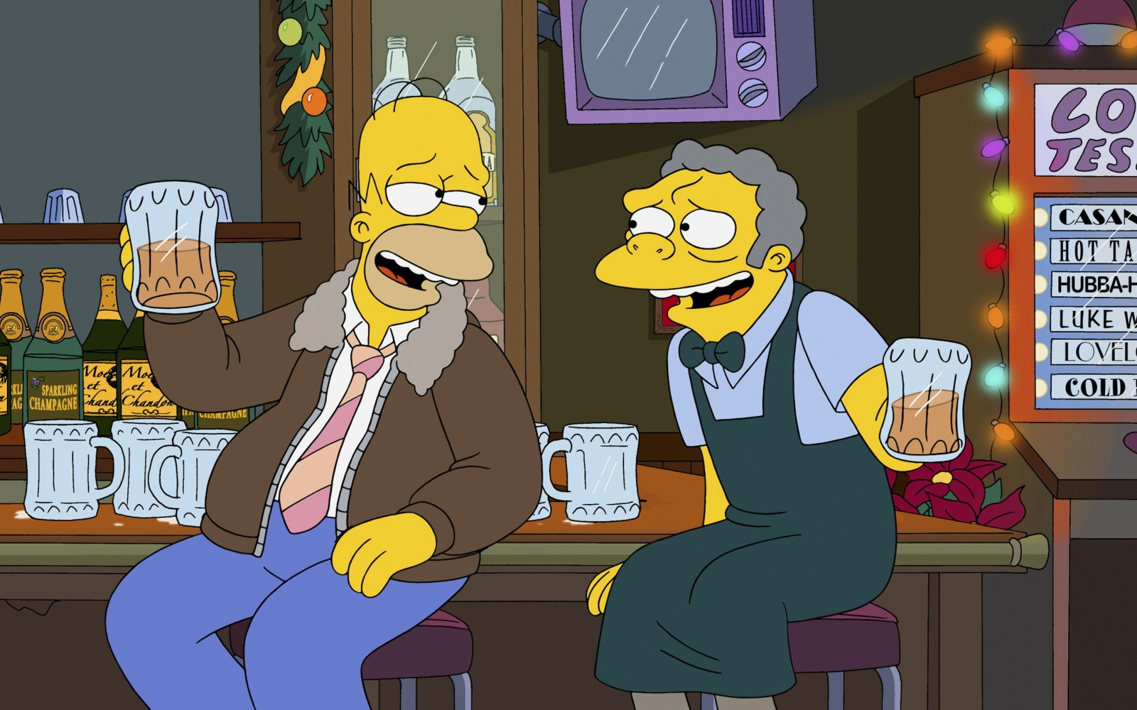 Homer Simpson and Moe drinking beer