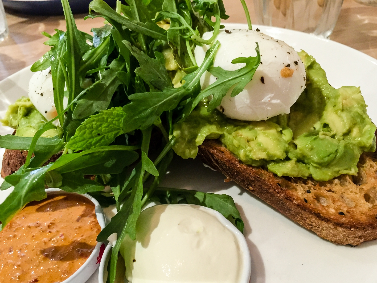 Eggs and avocado on toast