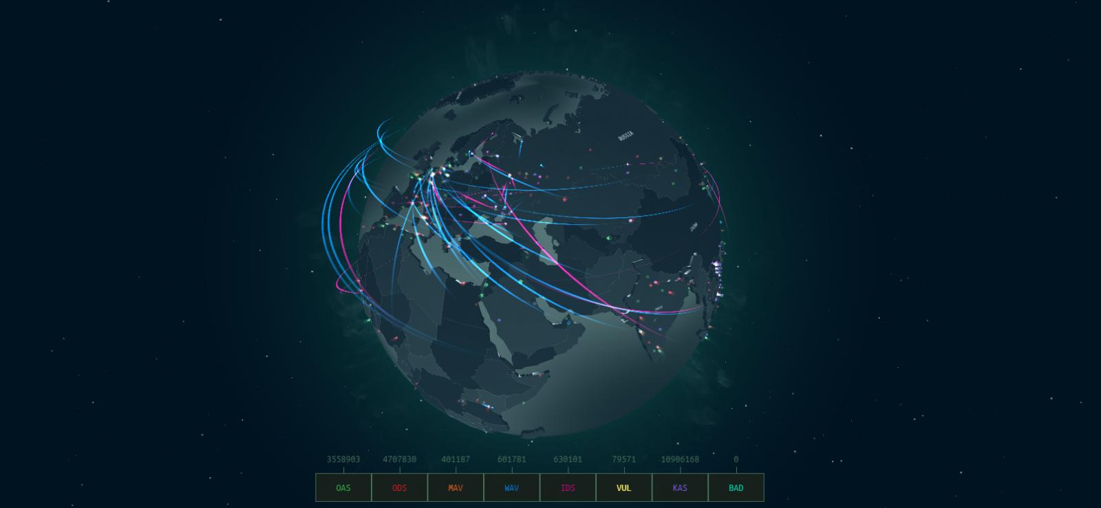 Kaspersky real-time cyberthreat map