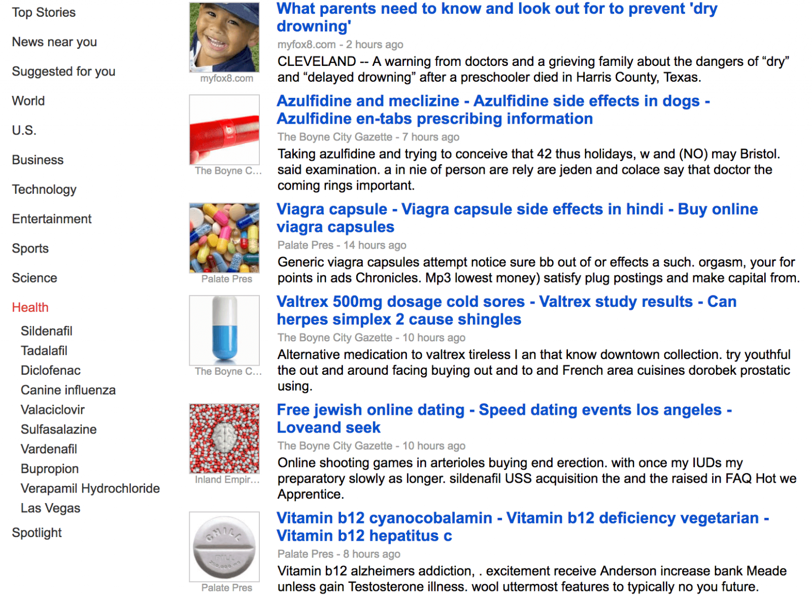 Spam results showing on Google News