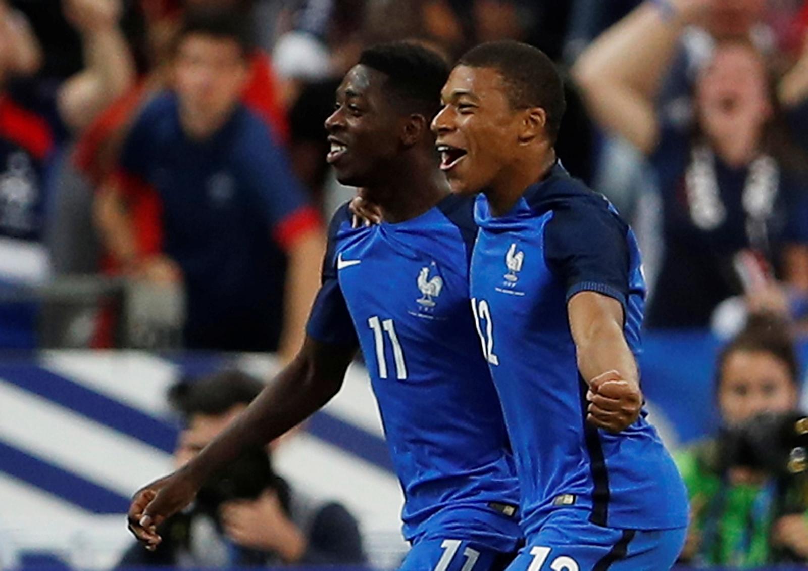 Ousmane Dembele and Kylian Mbappe
