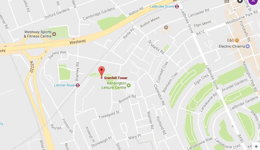 Grenfell Tower map