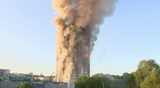 West London Fire: Ground Shots of Grenfell Tower