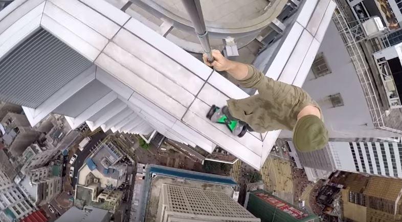 hoverboard skyscraper stunt