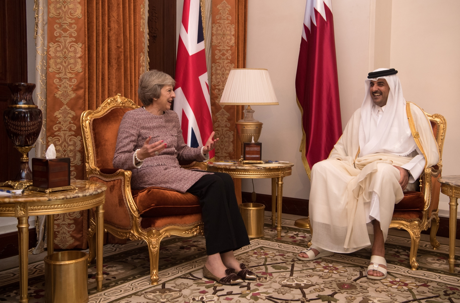 Theresa May and the Emir of Qatar