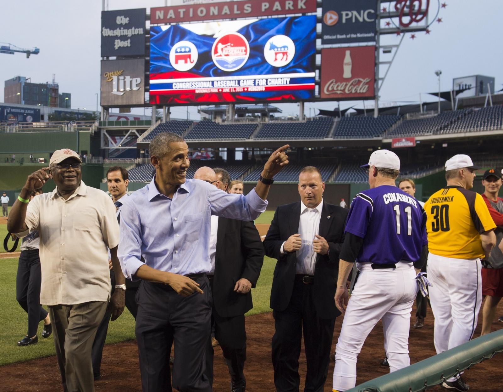 Obama at Congressional Baseball Game
