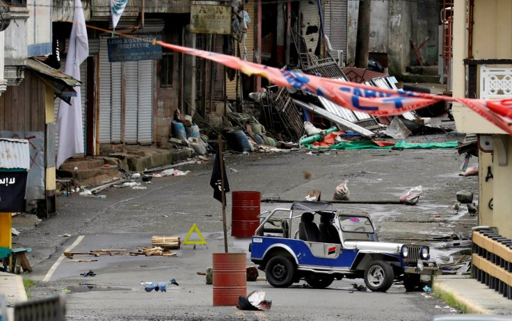 A view of the Maute group stronghold with an ISIS flag in Marawi City in southern Philippines.