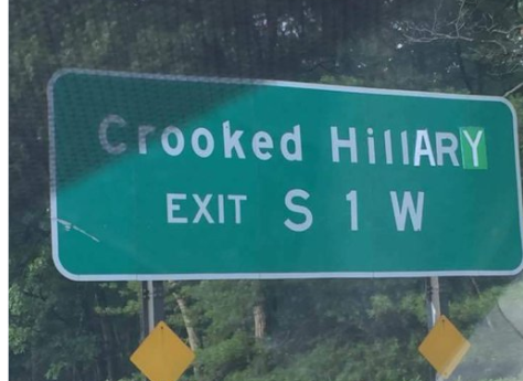 Crooked Hillary road sign
