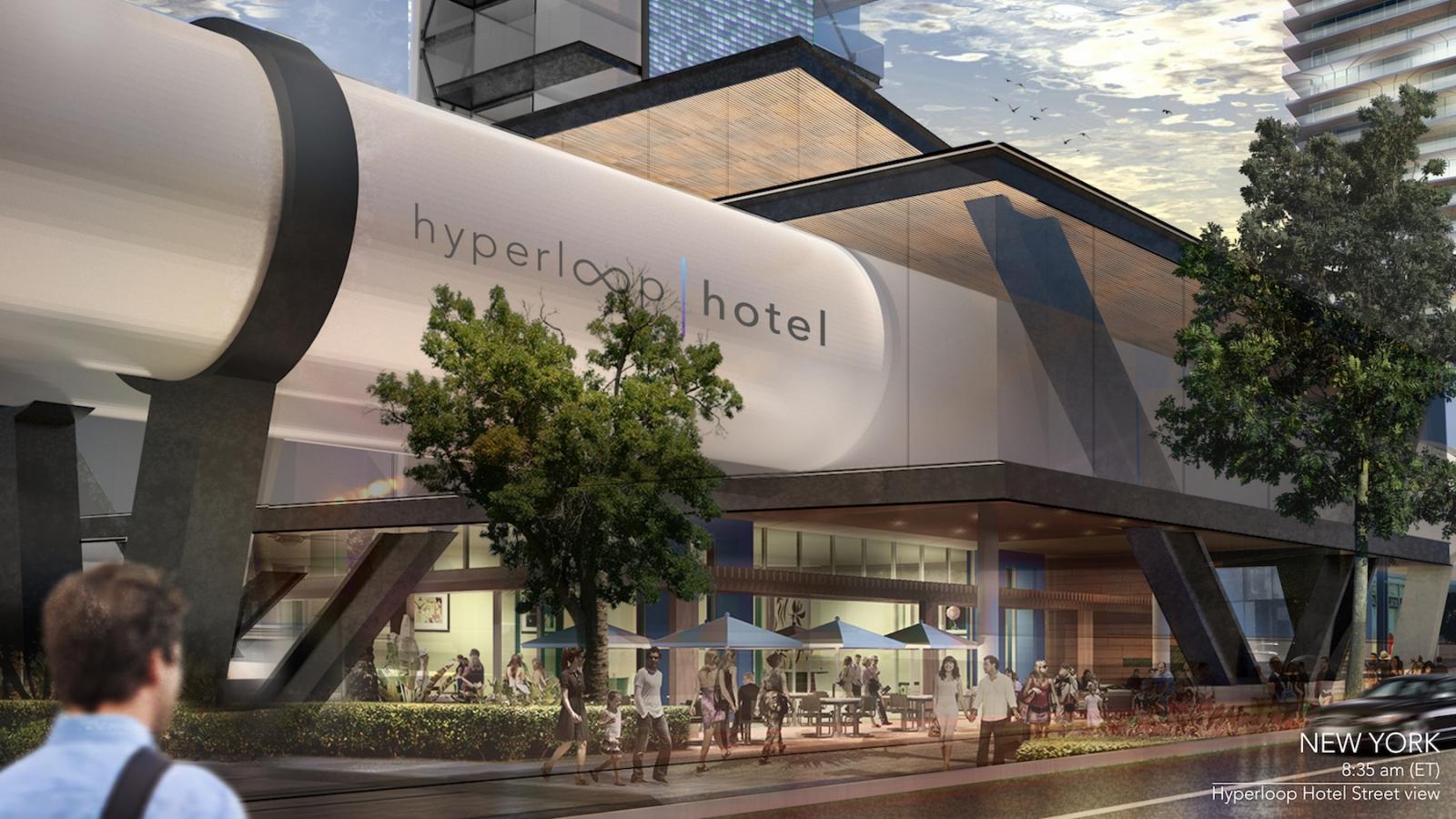 Conceptual image of Hyperloop Hotel