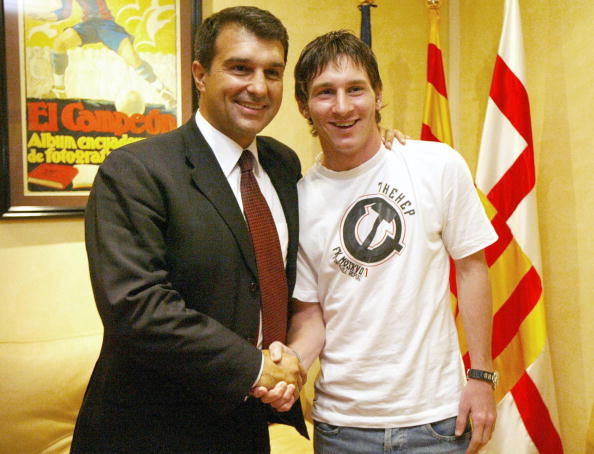 Joan Laporta and Lionel Messi