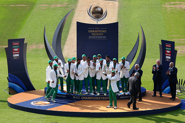 Pakistan celebrate winning the Champions Trophy