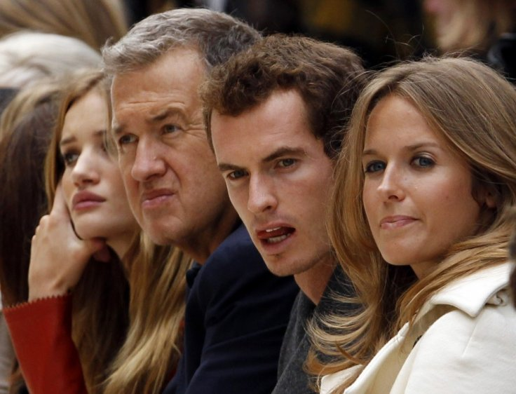 British model and actress Huntington Whiteleyi, photographer Testino, British tennis player Murray and his girlfriend Sears watch presentation of the Burberry Prorsum 2012 Spring/Summer collection during London Fashion Week