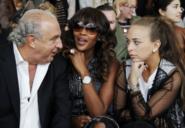 Philip Green and daughter Chloe talk with model Naomi Campbell before the Topshop Unique 2012 Spring/Summer collection show during London Fashion