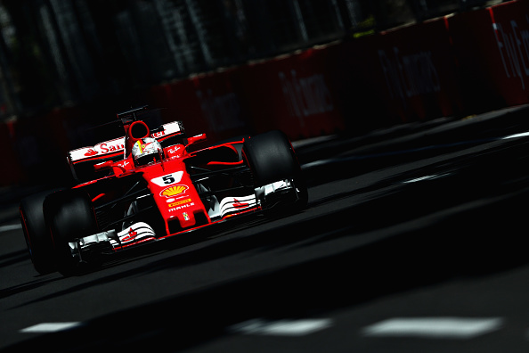 Sebastian Vettel Of Germany Driving The (5) Scuderia Ferrari SF70H On Track  During Final Practice For The Azerbaijan Formula One Grand Prix At Baku City  ...
