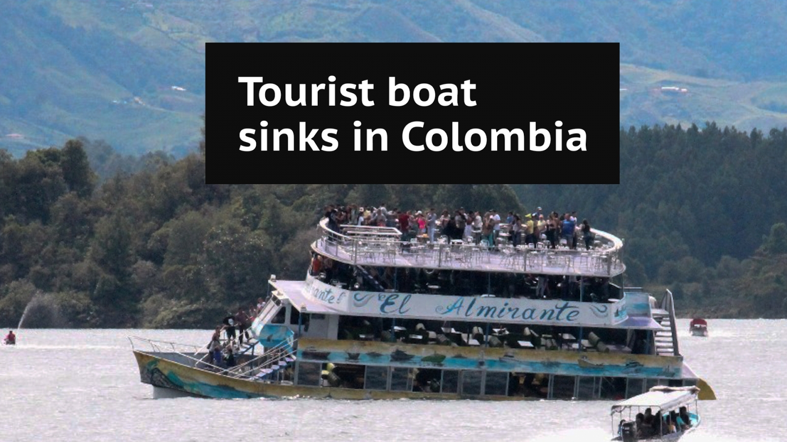 Dramatic timelapse video shows tourist boat sinking in Colombia reservoir