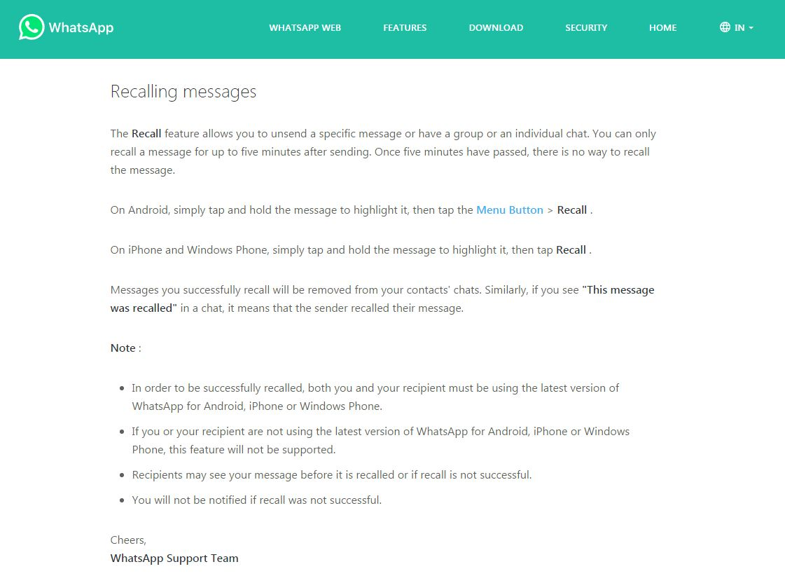 WhatsApp message recall unsend feature