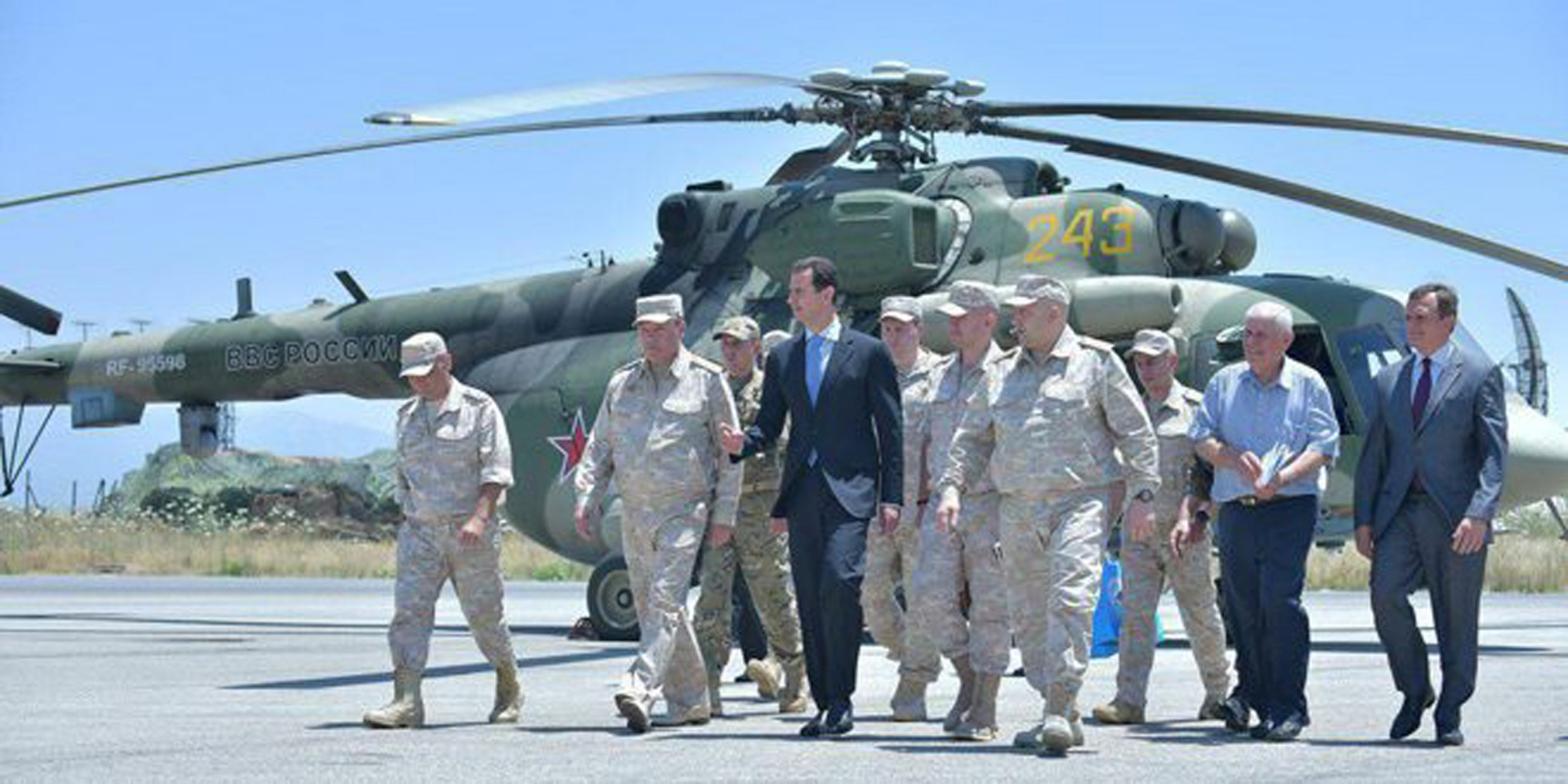 Syrian President Bashar al-Assad visits air base in western Syria