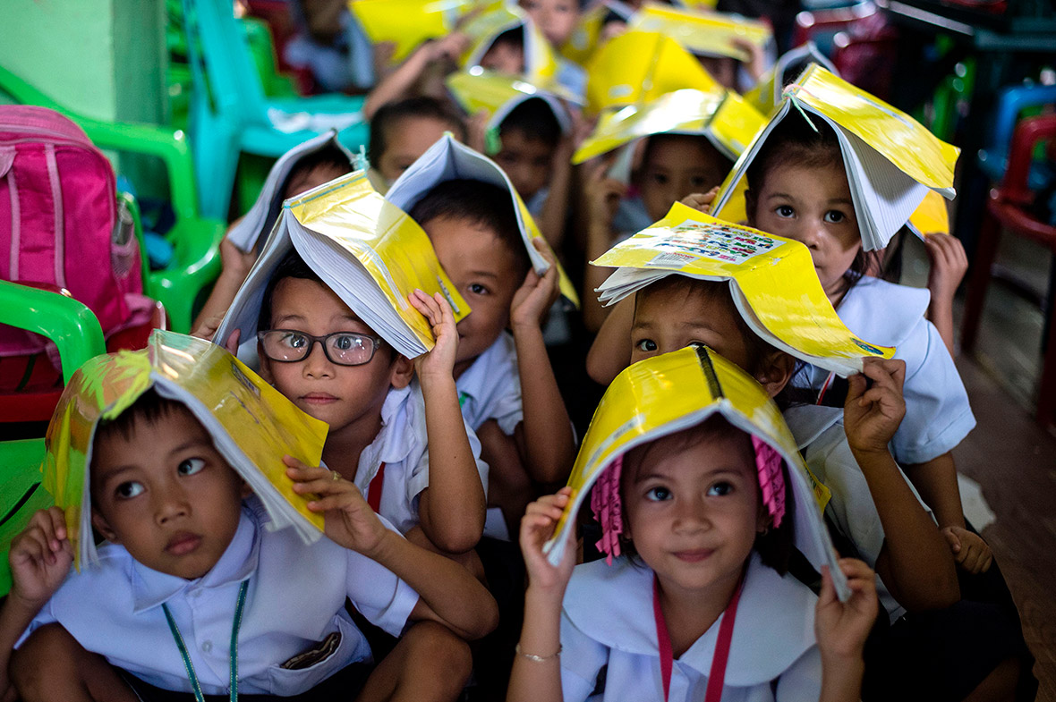 earthquake drill in Manila, the Philippines