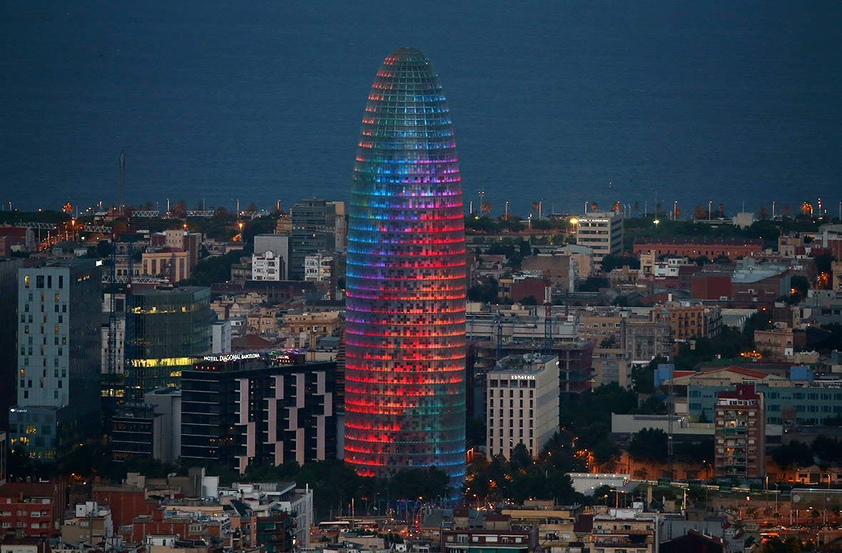 Agbar tower in Barcelona pride