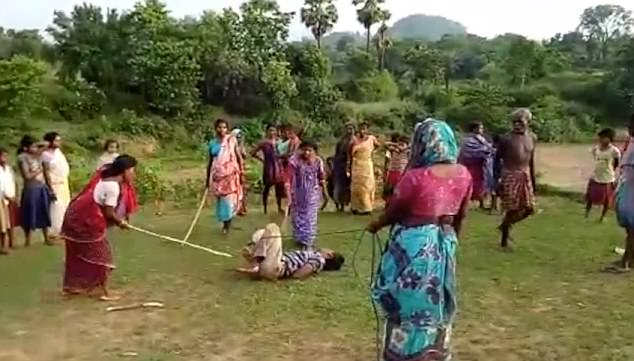 rapist tied up and beaten by women