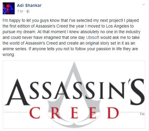Adi Shankar Assassin's Creed Netflix