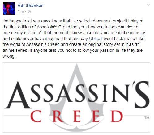 Adi Shankar Assassin's Creed Netflix