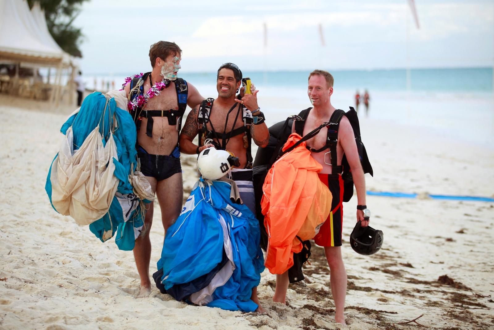 Naked British skydivers