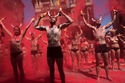 Animal rights activists protest against bullfighting