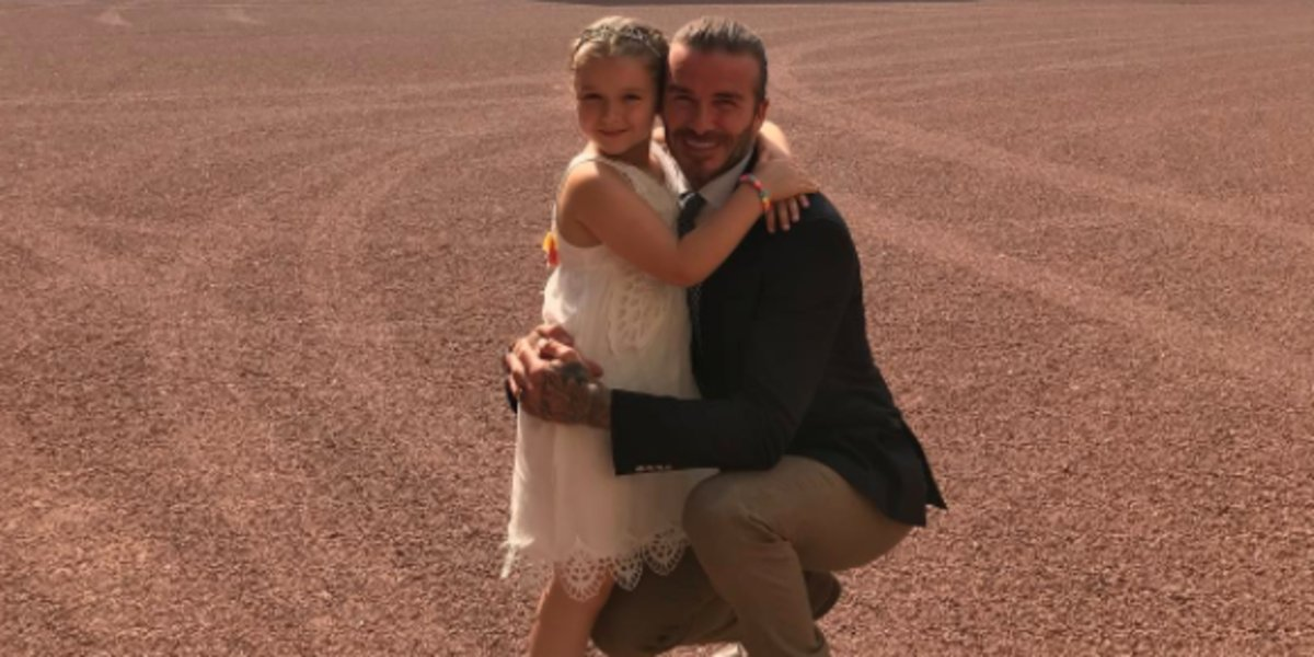 David Beckham gives daughter Harper Beckham her first soccer lesson